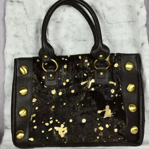 Charlie Lapson Brown Gold Animal Print Handbag